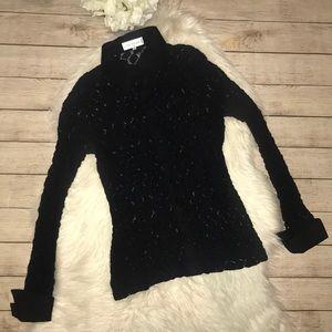 Anne Fontaine Paris Black Lace Button Up Blouse